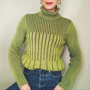 Vintage 90s green ribbed knit turtleneck sweater S